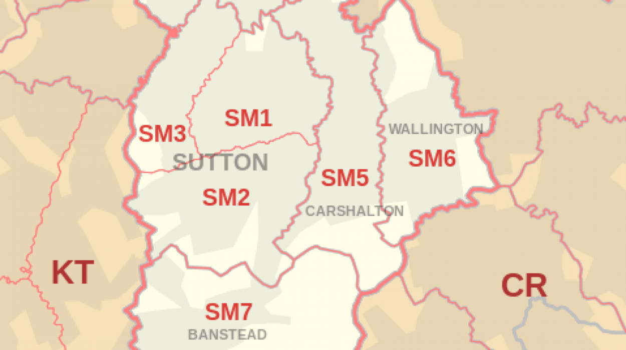 Sutton Postcode Map